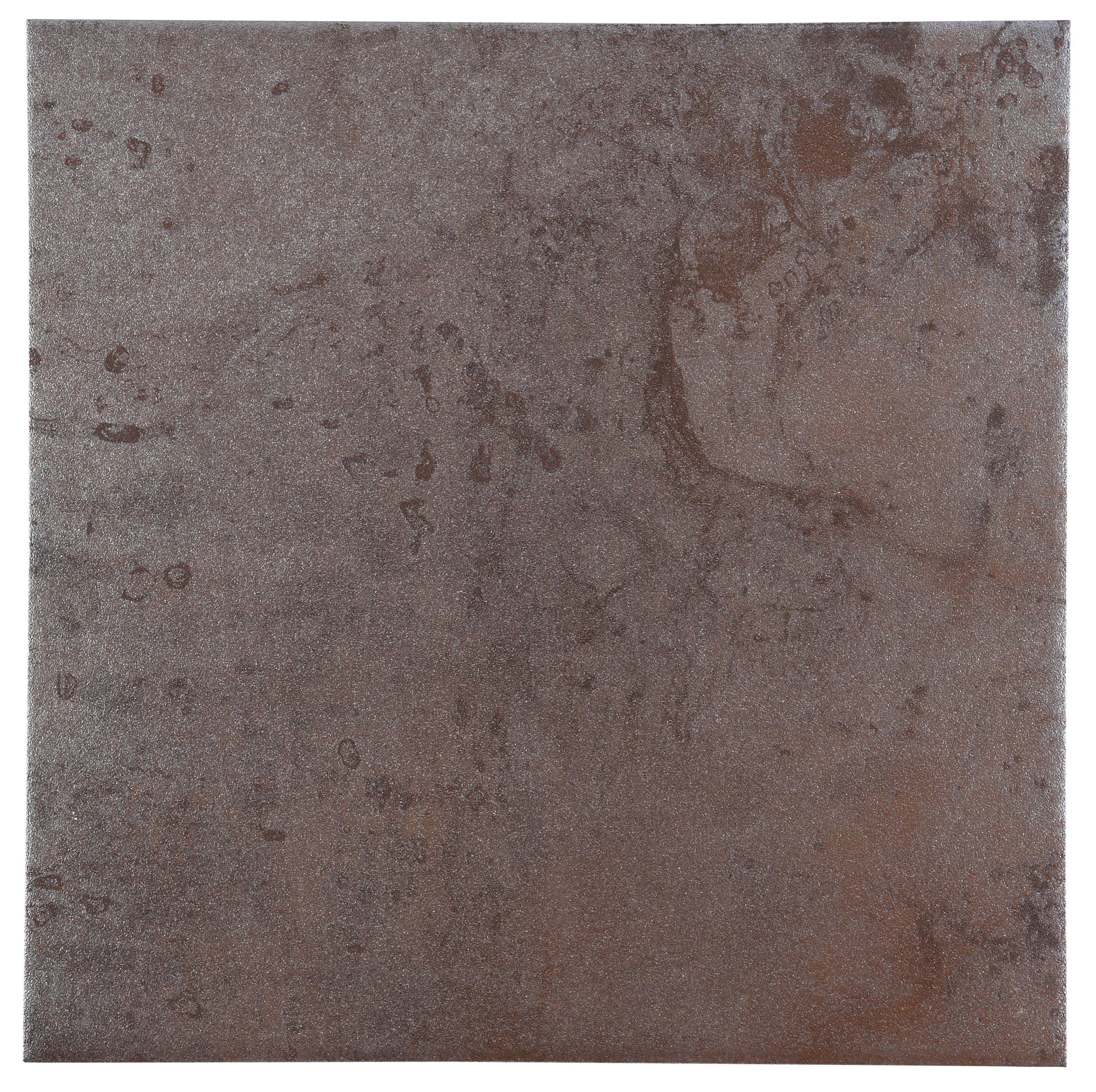 Natural Travertine Mosaic Tile L 300mm W 300mm: Metallic Grey Copper Effect Patterned Porcelain Floor Tile