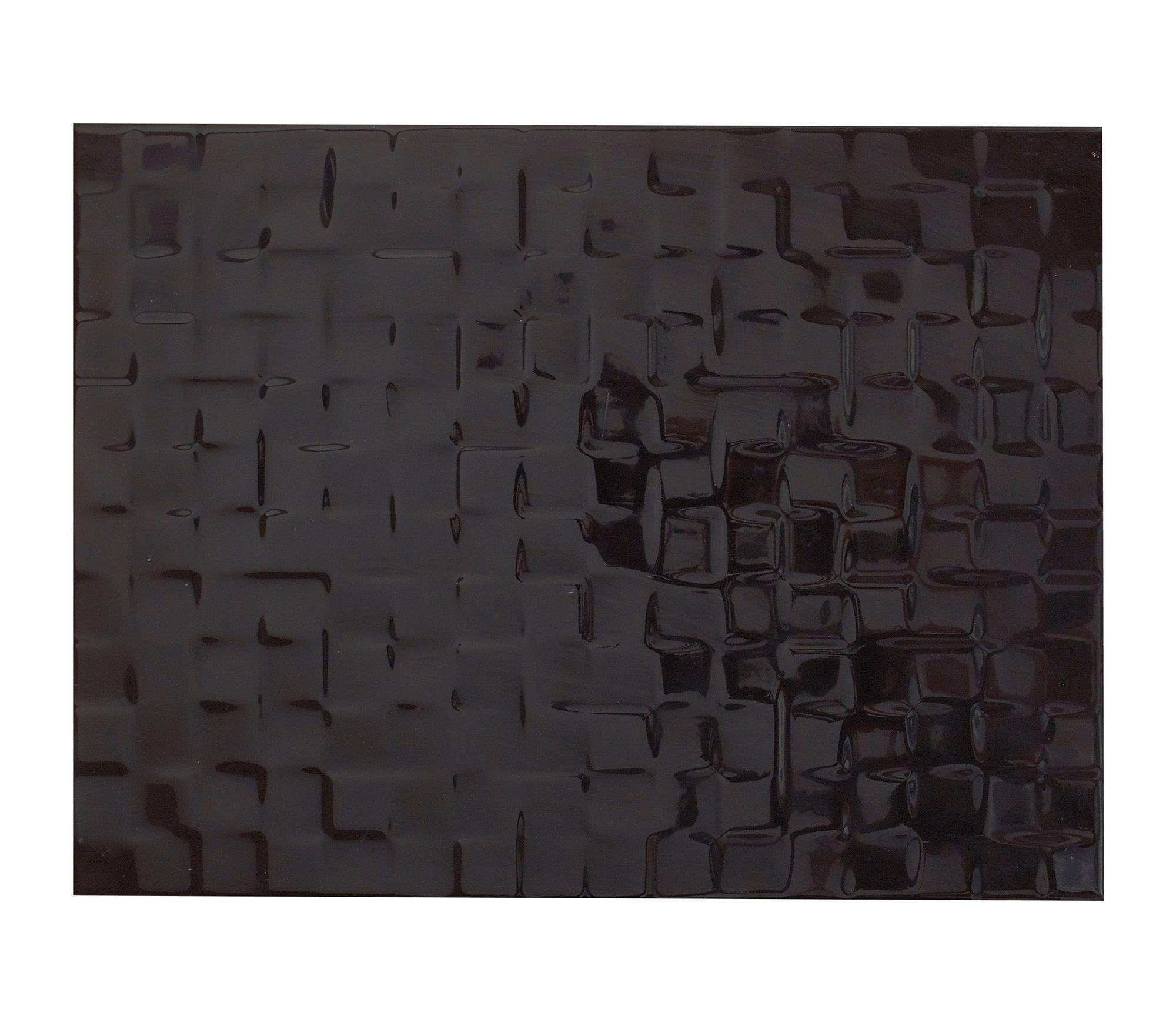 Designer Black Abstract Ceramic Wall Tile, Pack Of 8, (l)300mm (w)400mm