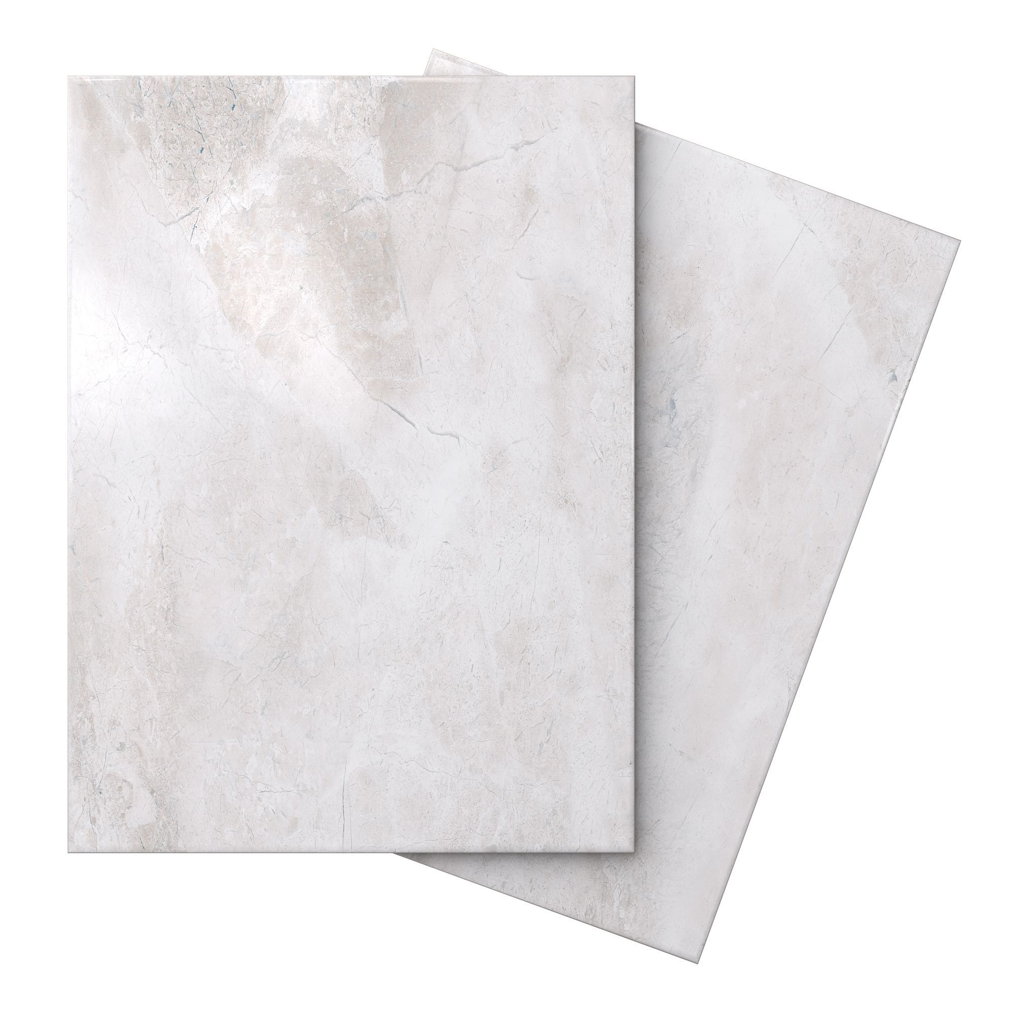 Illusion White Marble Effect Ceramic Wall & Floor Tile, Pack Of 10, (l)360mm (w)275mm