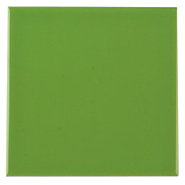 Utopia Lime Gloss Ceramic Wall Tile, (L)147mm (W)147mm