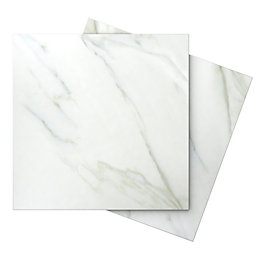 Aquila White Carrara Porcelain Floor Tile, Pack of