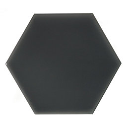 Hanbury Charcoal Hexagon Ceramic Wall Tile, Pack of