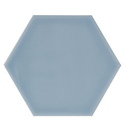 Hanbury Cornflower Gloss Hexagon Ceramic Wall Tile, Pack