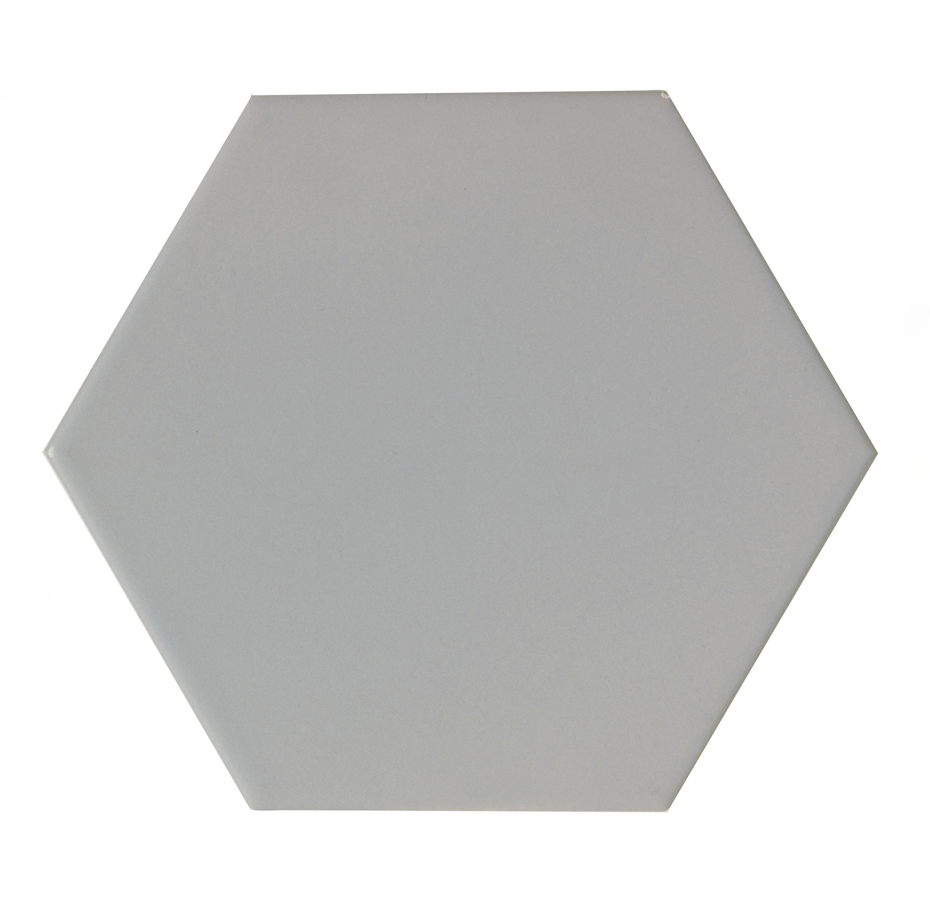 City Chic Soft Grey Satin Hexagon Ceramic Wall Tile, Pack Of 50, (l)150mm (w)173mm