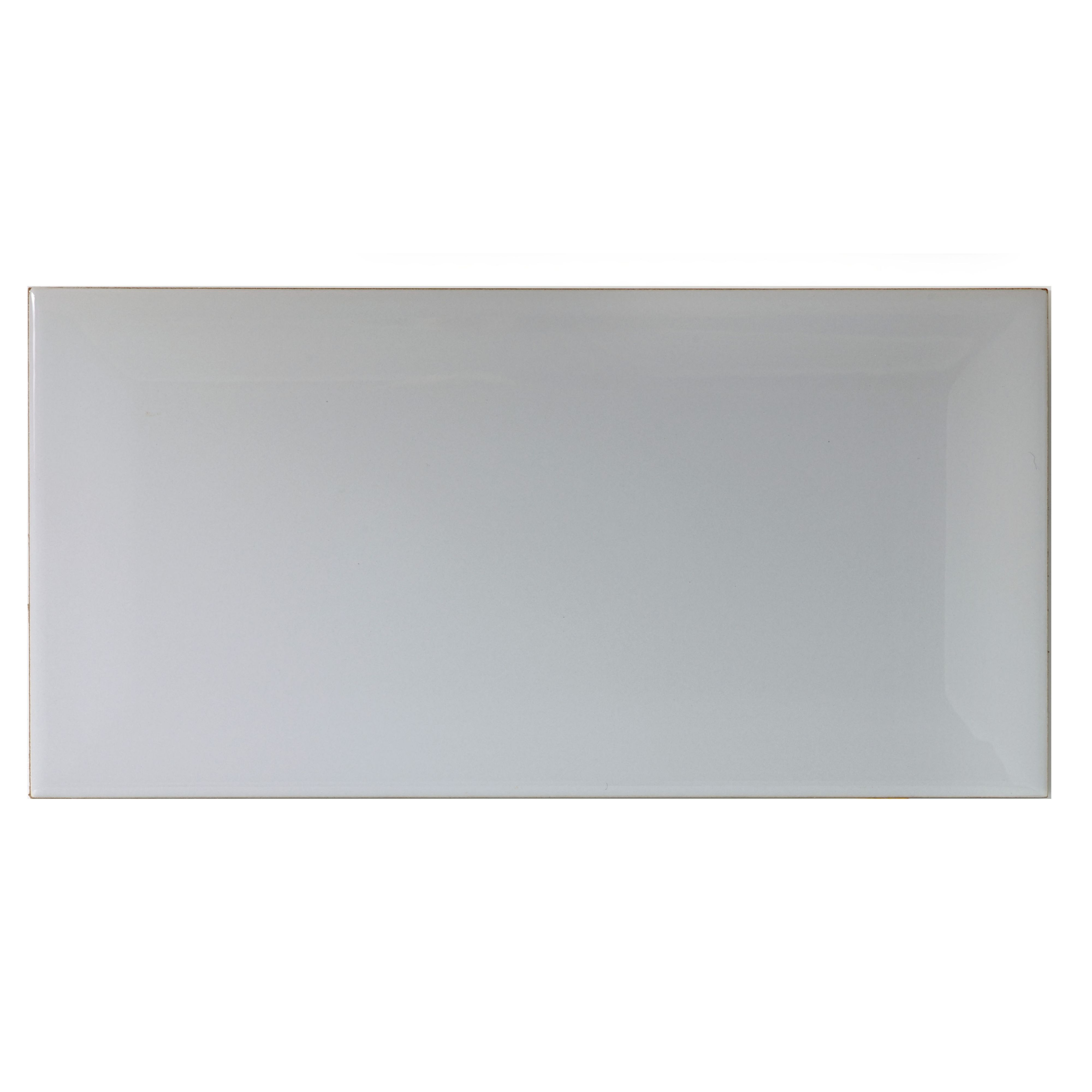 Grey Gloss Bevelled Edge Ceramic Wall Tile, Pack Of 50, (l)200mm (w)100mm