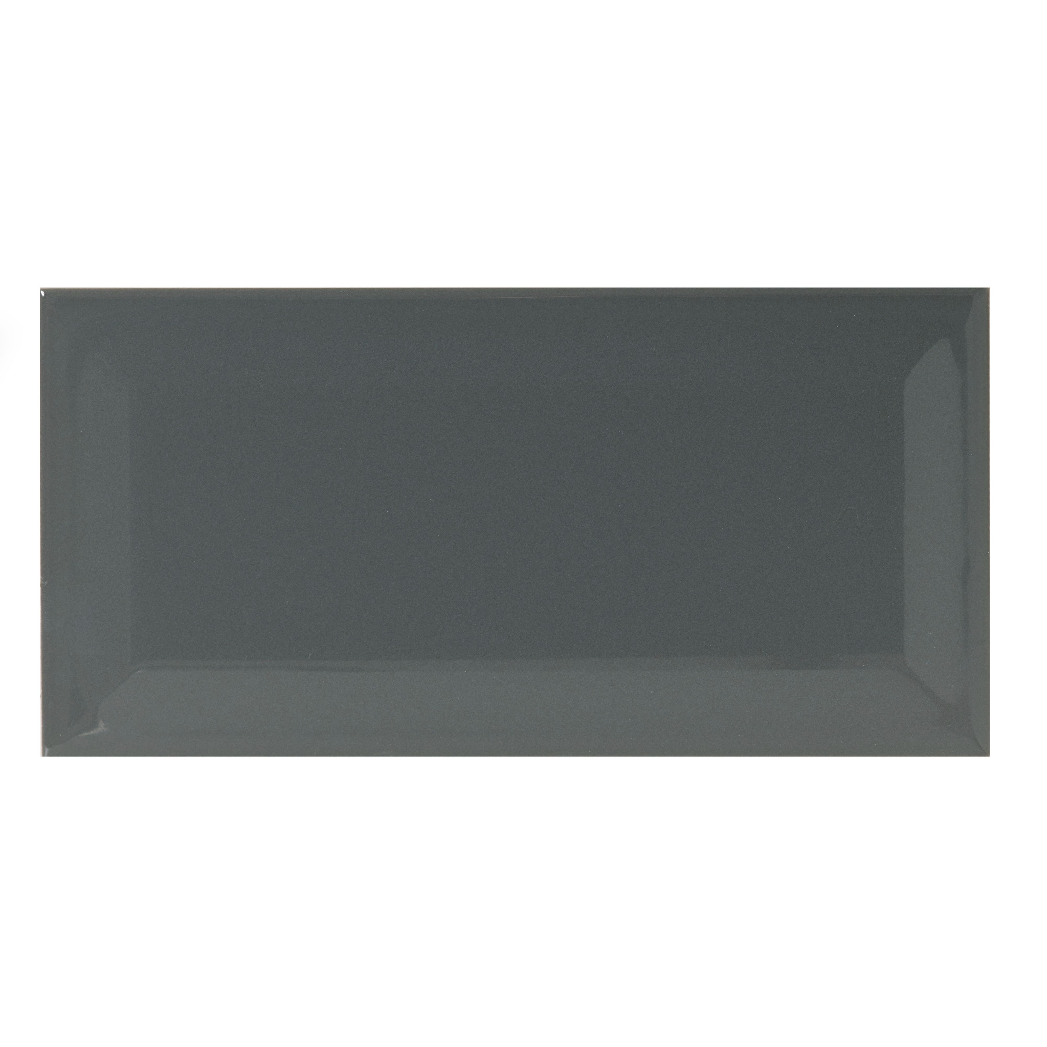 Bevelled Edge Charcoal Gloss Bevelled Edge Ceramic Wall Tile, Pack Of 50, (l)200mm (w)100mm