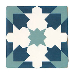 Fusion Blue & White Satin Patterned Ceramic Wall