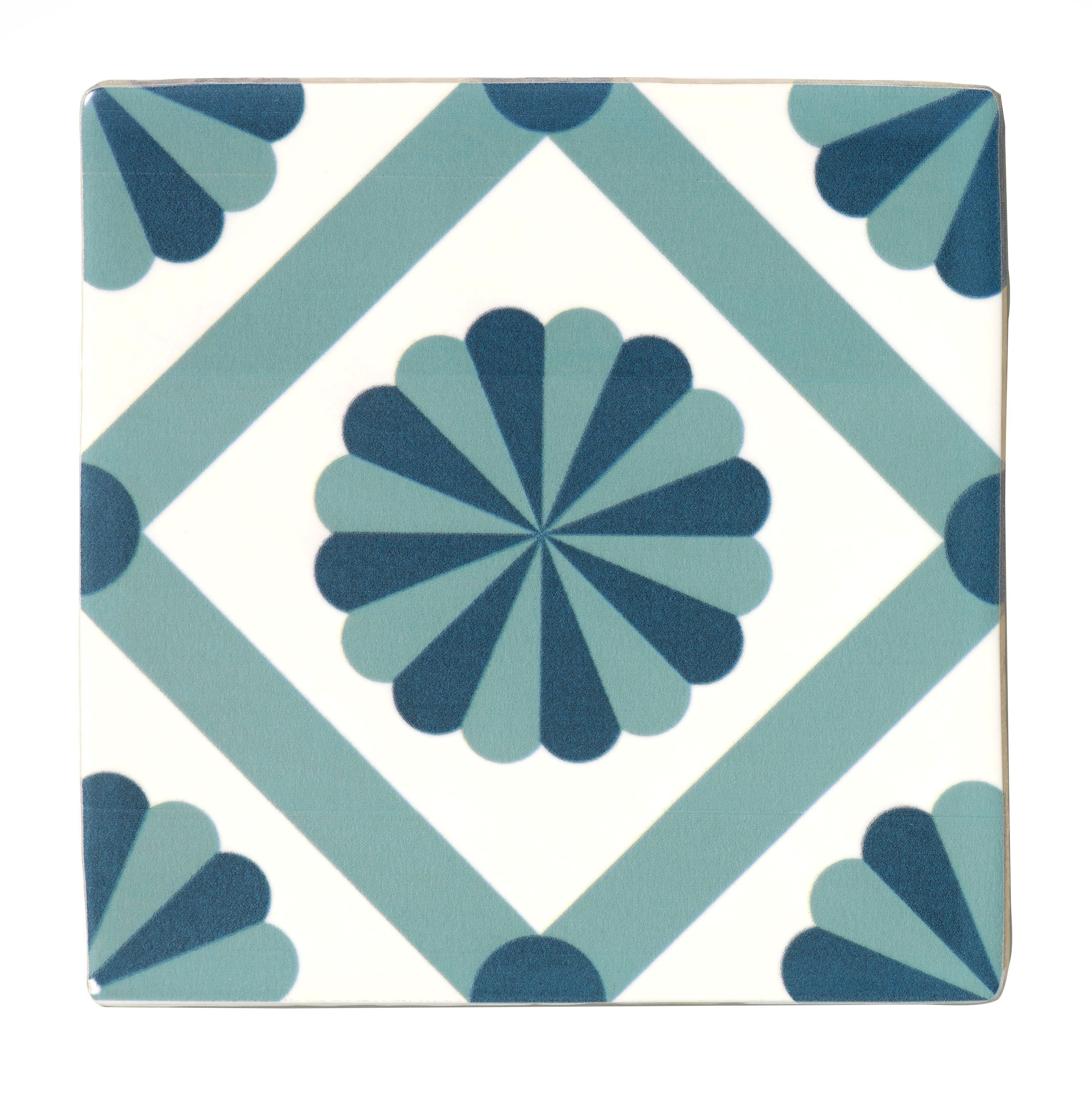 Diy at bq fusion blue white satin patterned ceramic wall tile pack of 25 l dailygadgetfo Image collections
