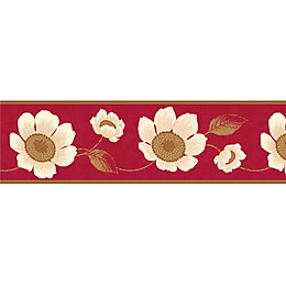 Carissa Cream & Red Floral Border