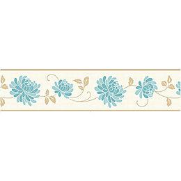 Celina Cream & Teal Floral Border