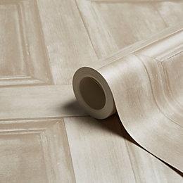 Fine Décor Wood Panel Cream Wallpaper