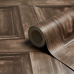 Fine Décor Wood Panel Choc Wallpaper