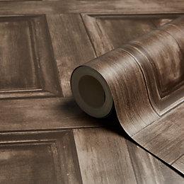 Fine Décor Wood Panel Choc Wallpaper