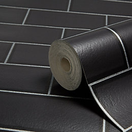 Fine Décor Ceramica Black Subway Tile Wallpaper