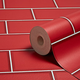 Fine Décor Ceramica Red Subway Tile Wallpaper