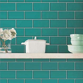 Fine Decor Ceramica teal subway tile wallpaper