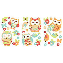 Patchwork Birds Multicolour Self Adhesive Wall Sticker (L)330mm