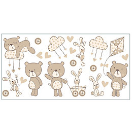 Fun4Walls Bear & Boo Beige Self Adhesive Wall