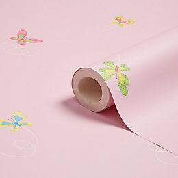Fine Décor Fun4Walls Pink Butterflies Wallpaper