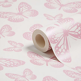 Fine Décor Fun4Walls Pink & White Butterflies Mica