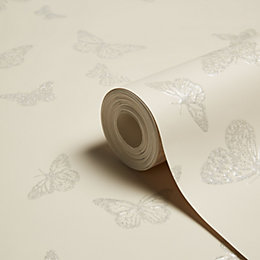 Fine Décor Sparkle Beige Butterfly Glitter Effect Wallpaper