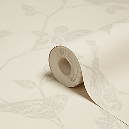 Fine Décor Leaf & Birds Beige Glitter Effect
