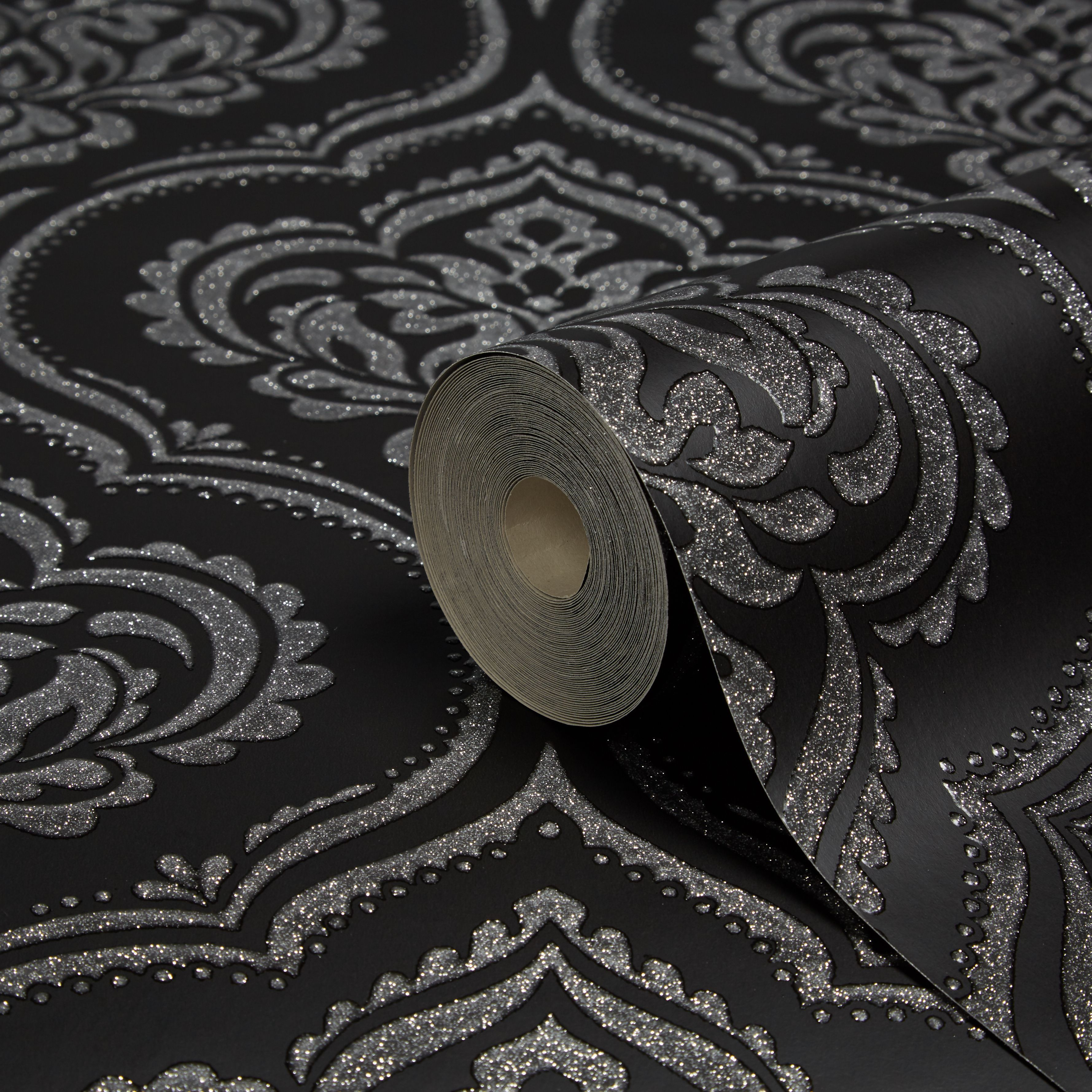 Fine Décor Ornamental Damask Black Glitter Effect Wallpaper