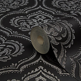 Fine Décor Ornamental Damask Black Glitter Effect Wallpaper