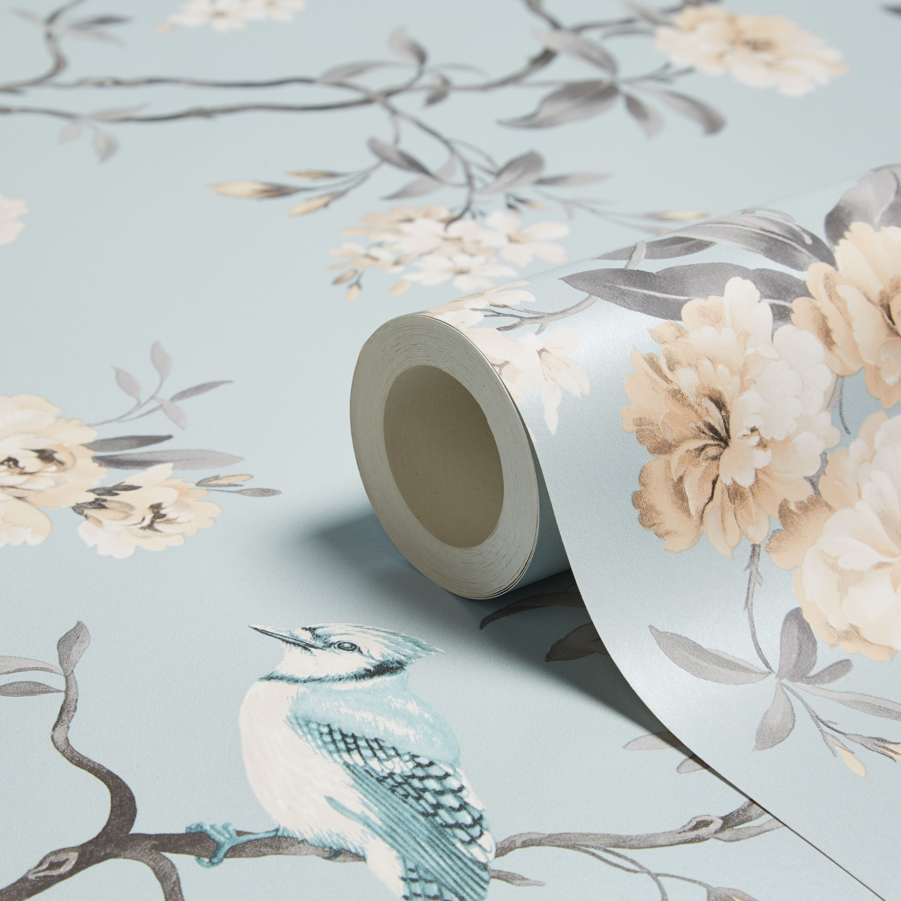 Fine Decor Chinoiserie Teal Foliage Birds Wallpaper