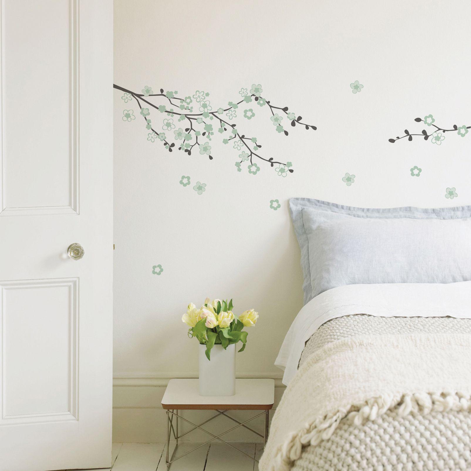 bedroom kids wall decor diy fine decor cherry blossom duck egg self adhesive wall sticker