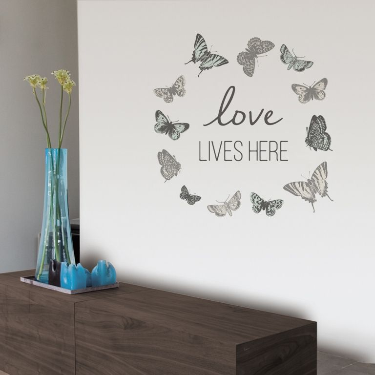 Wall Art Stickers B And Q : Fine d?cor love lives here grey self adhesive wall sticker