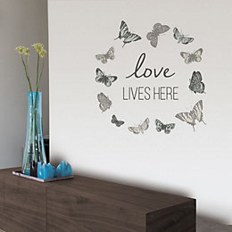 Fine Décor Love Lives Here Grey Self Adhesive