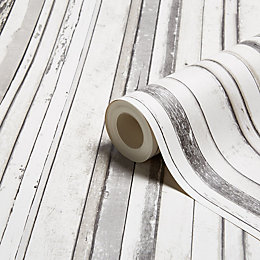 Fine Décor Grey Wood Stripe Wallpaper