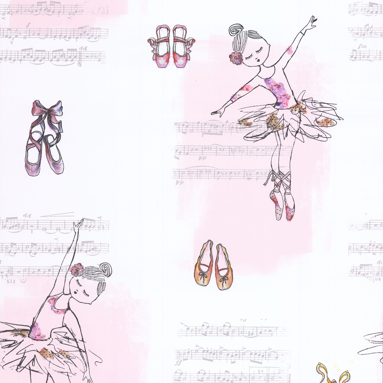 White pink ballerina glitter effect wallpaper for B q bedroom wallpaper
