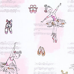 White & Pink Ballerina Glitter Effect Wallpaper
