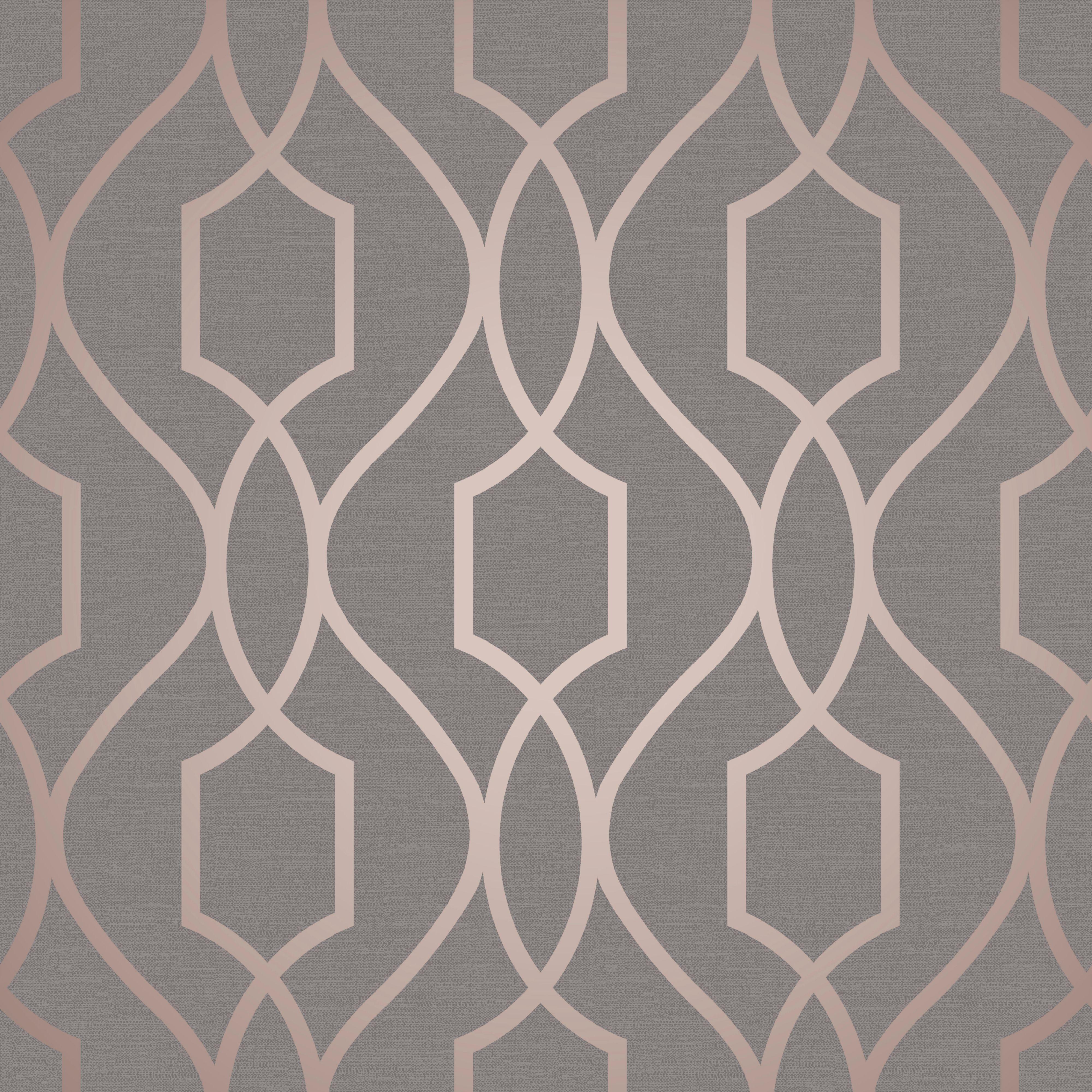 Fine Decor Grey Copper Effect Geometric Textured Wallpaper