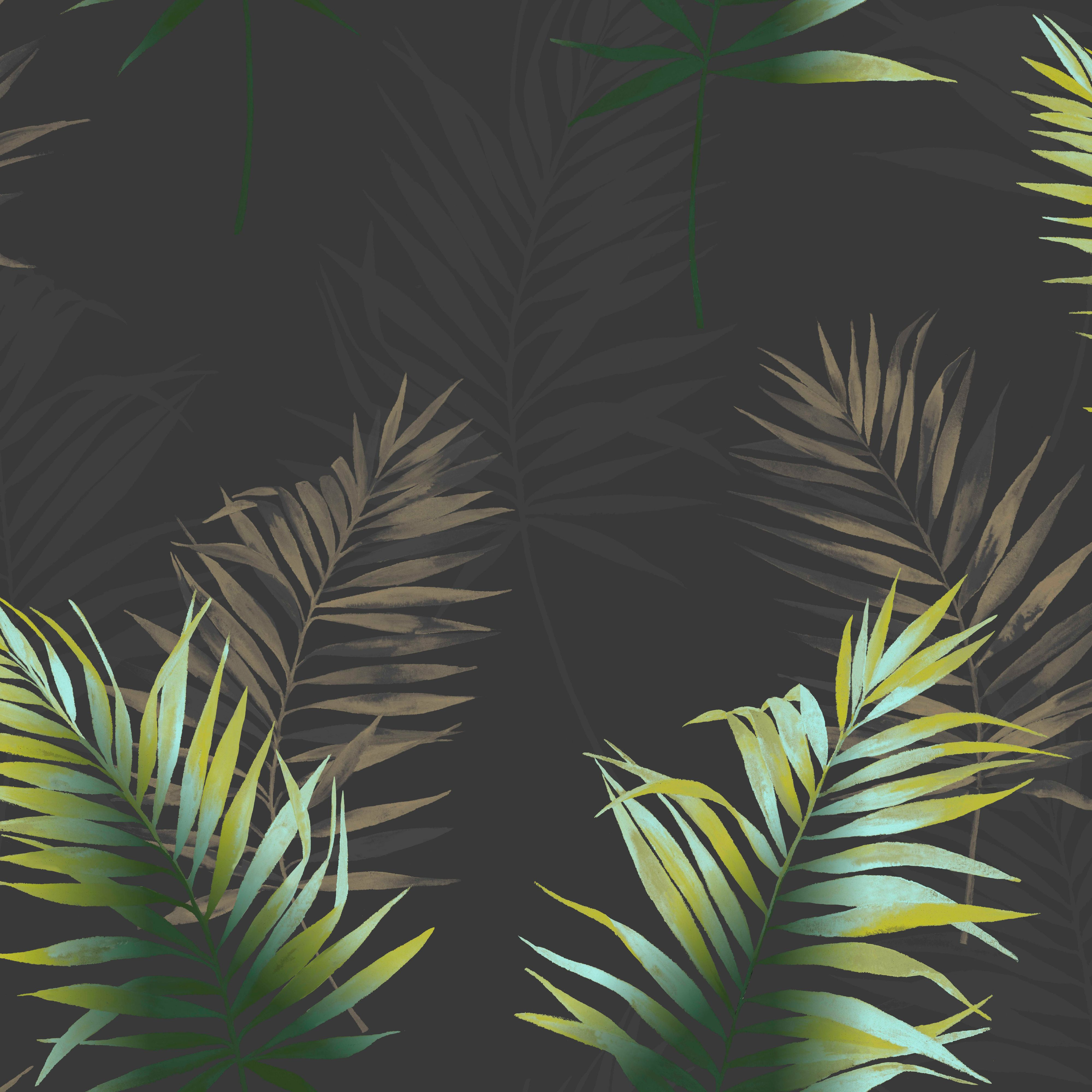 Kalani Black & Green Palm Leaf Wallpaper | Departments ...