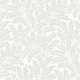 Fine Décor Jade Soft White Leaf Wallpaper