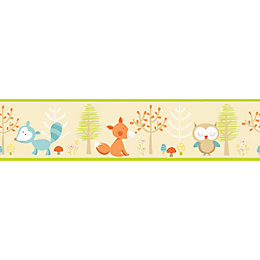 Fun4Walls Multicolour Forest Friends Self Adhesive Border