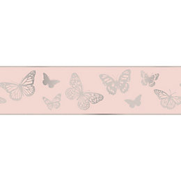 Colours Pink & Silver Glitter Butterfly Border