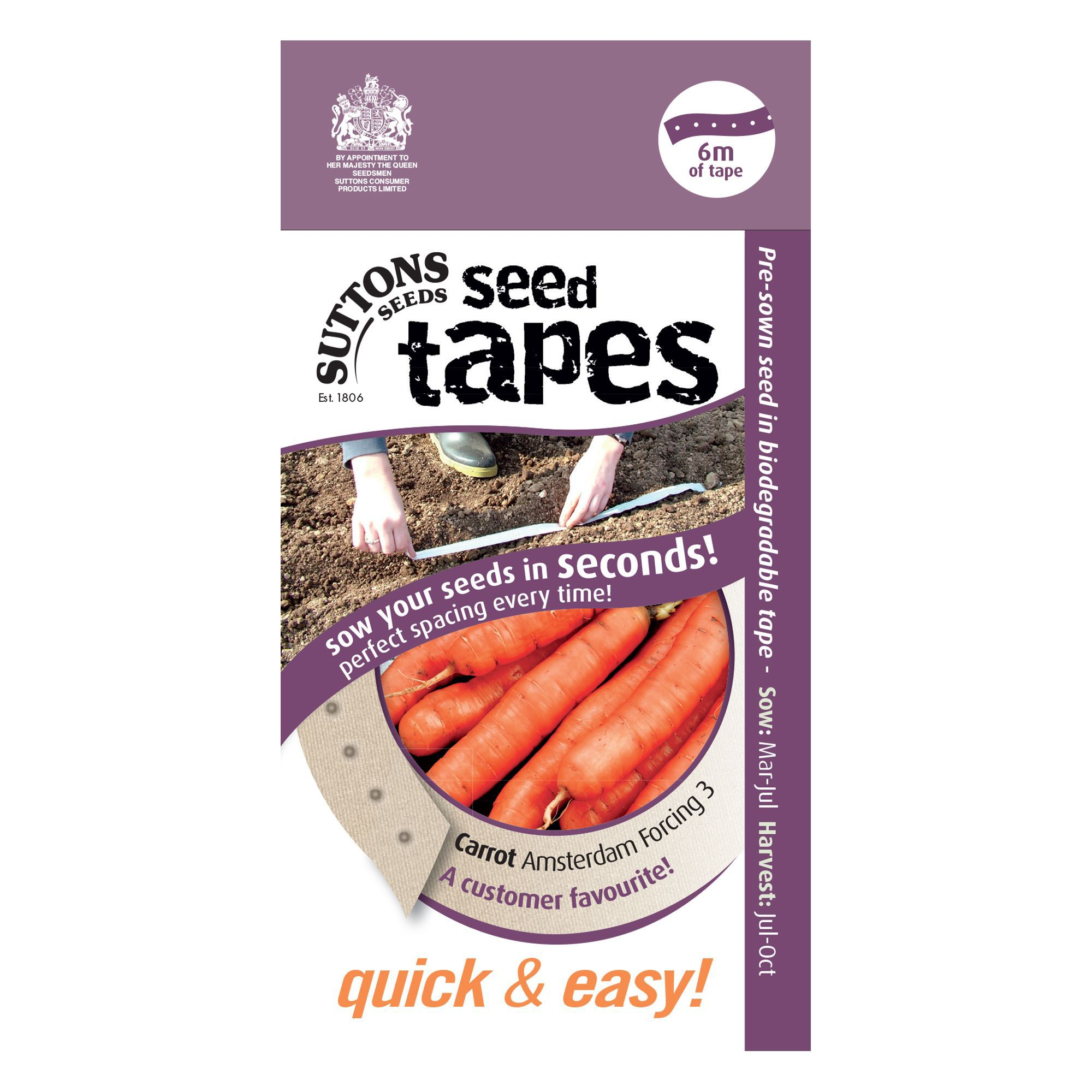 Suttons Seed Tapes Carrot Seed Tape, Amsterdam Forcing Mix ...
