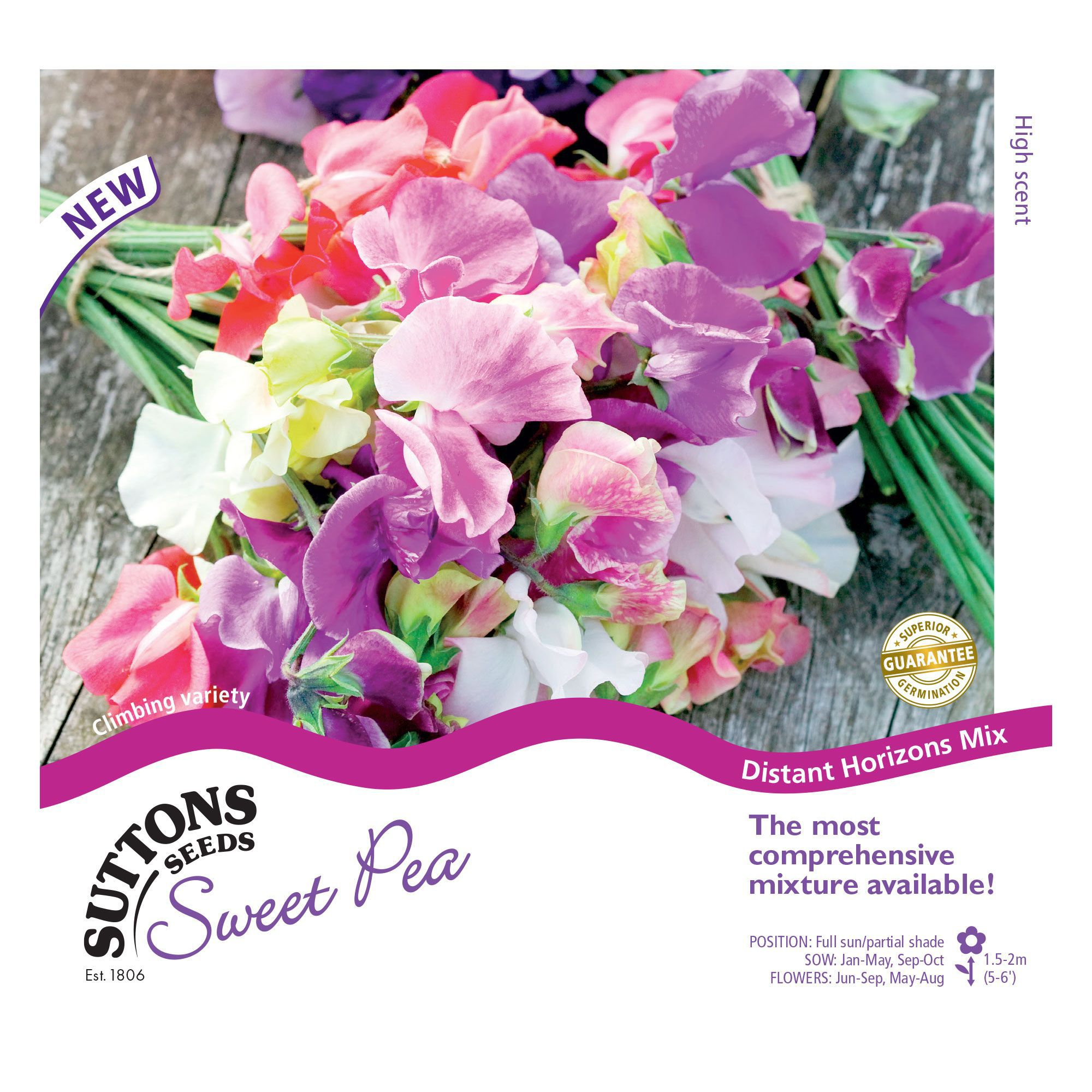 Suttons Sweet Pea Seeds, Distant Horizons