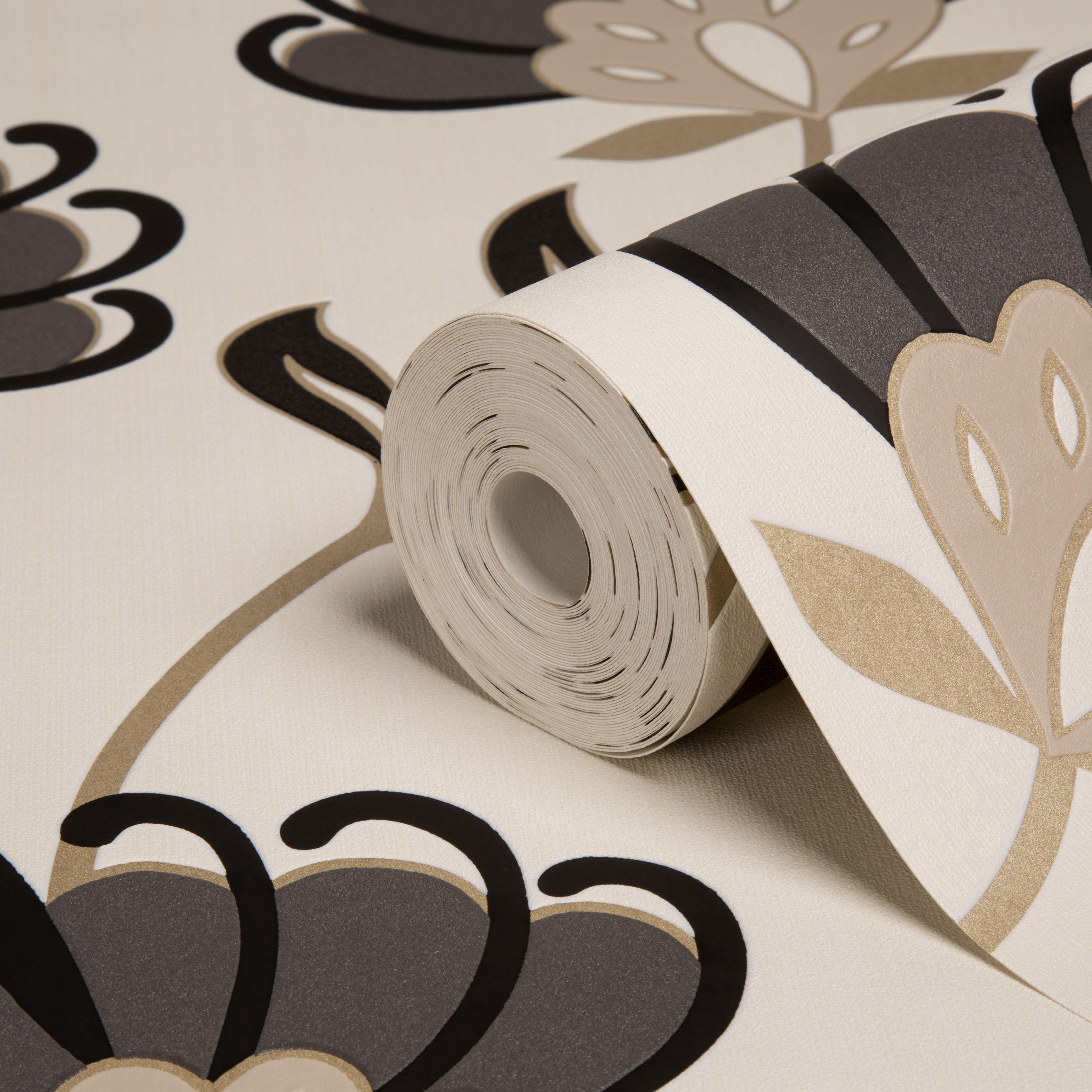 Graham u0026 Brown Superfresco Beige u0026 Black Floral Wallpaper : Departments : DIY at Bu0026Q
