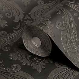 Graham & Brown Kelly Hoppen Black Damask Wallpaper