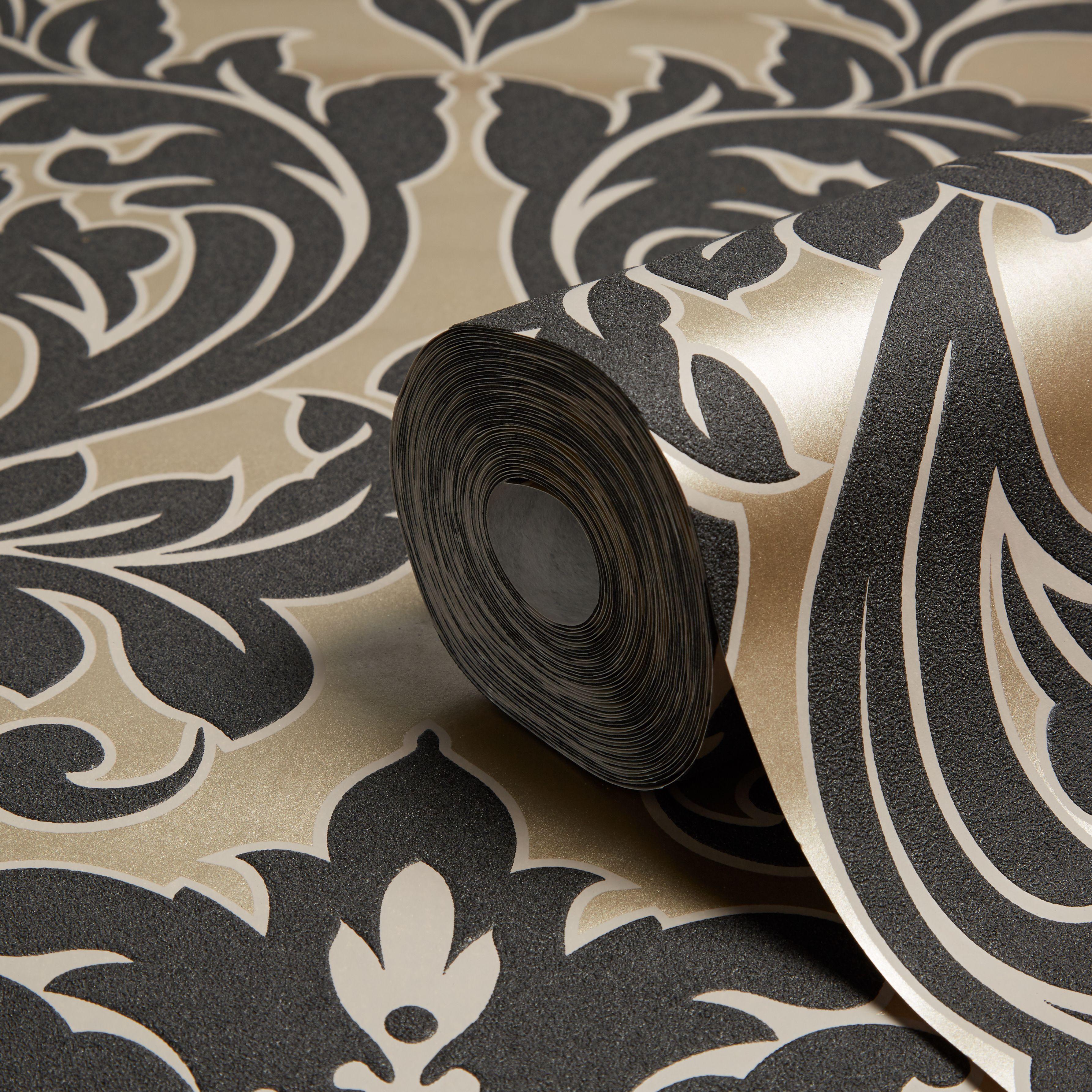 Gold kensington gold pearl damask wallpaper for B q bedroom wallpaper designs