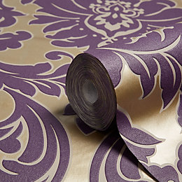Graham & Brown Superfresco Easy Plum Damask Metallic
