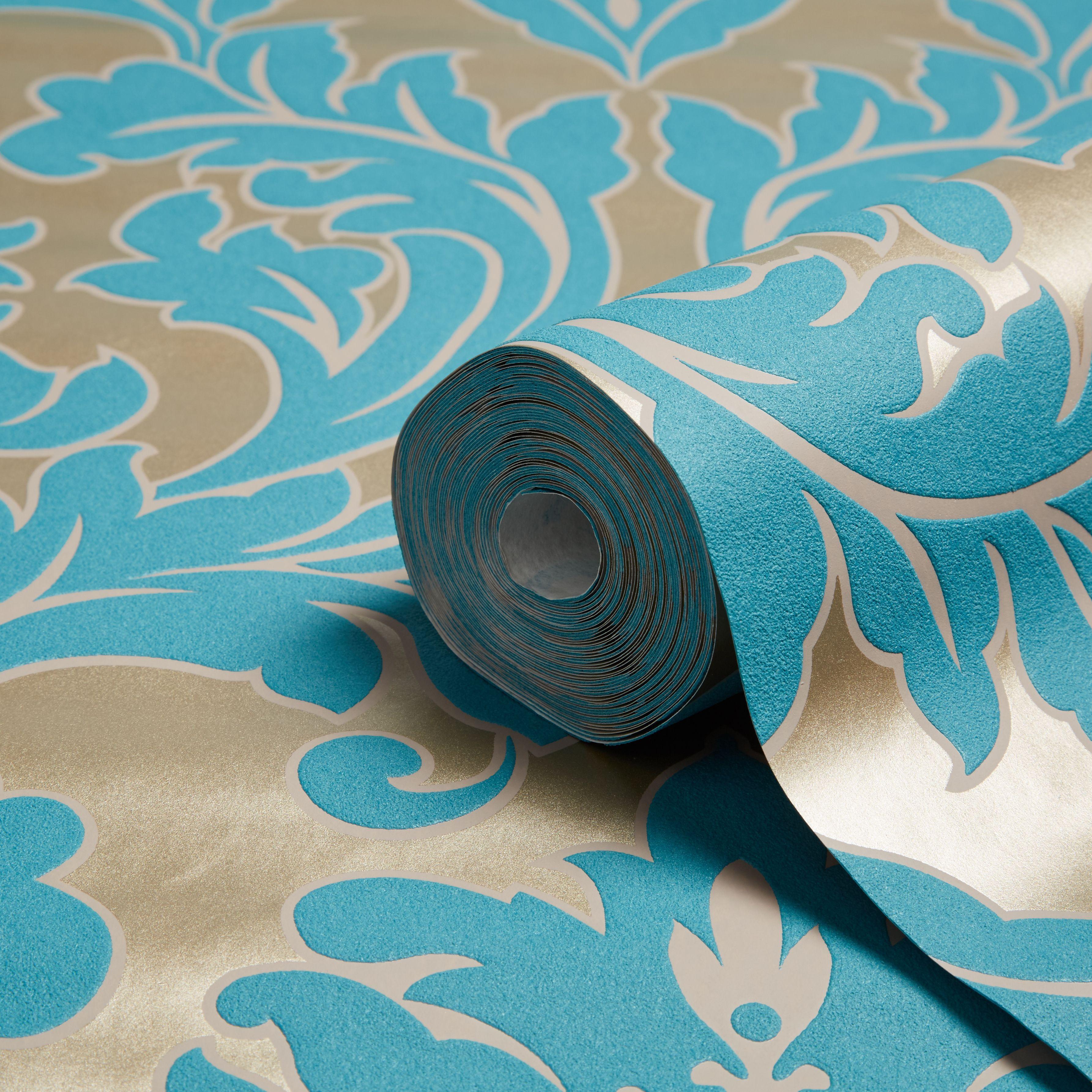Wanders blue wanders forest flocked wallpaper damask wallpaper - Graham Brown Superfresco Easy Teal Damask Wallpaper Departments Diy At B Q