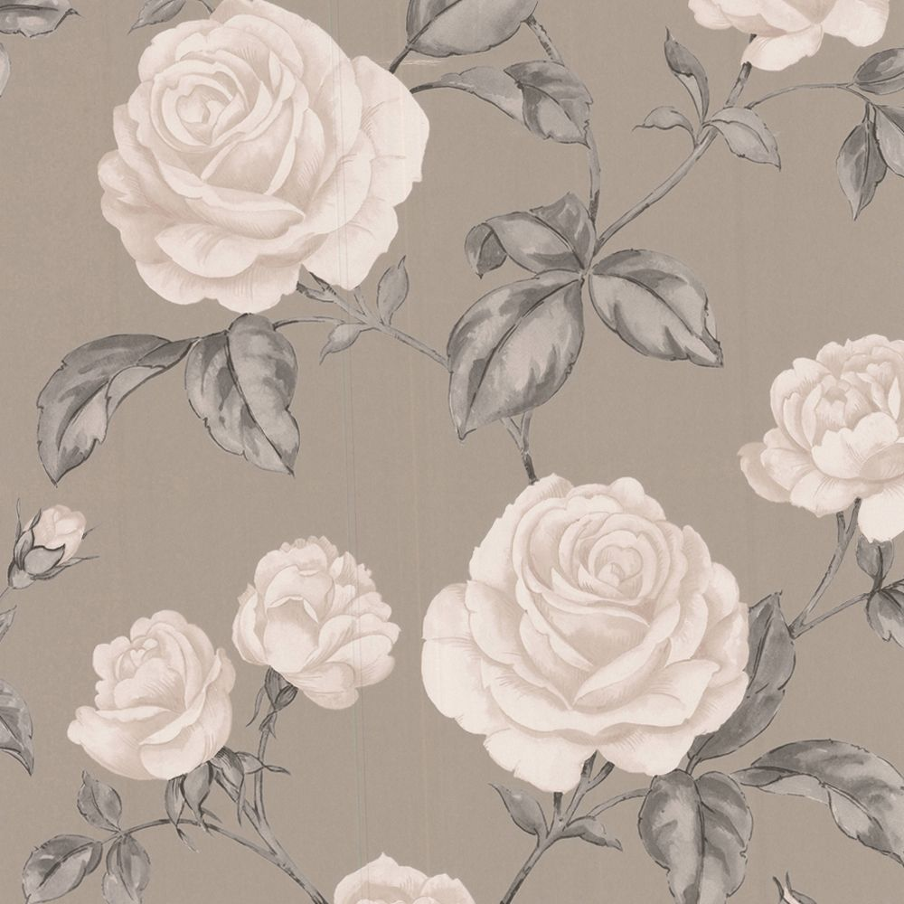 Graham Brown Countess Taupe Floral Wallpaper