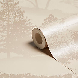 Graham & Brown Mirage Latte Trees Wallpaper