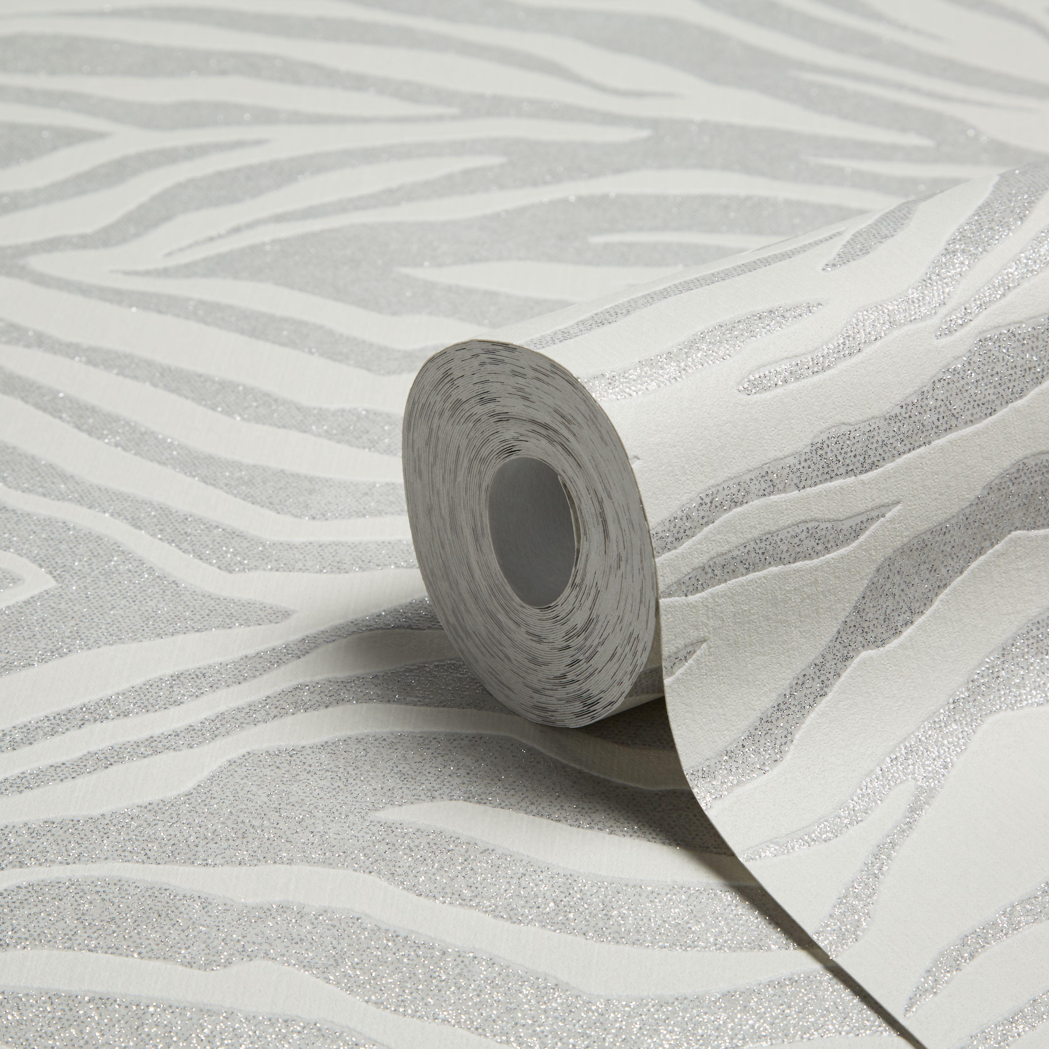 Graham & Brown Superfresco Easy Silver Glitter Wallpaper